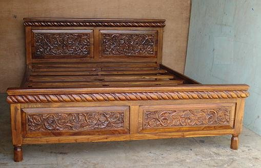 Indian wooden storage bed double