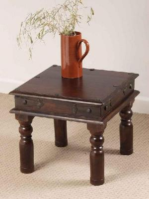 Indian Wooden Coffee Table With Storage Drawers Carved
