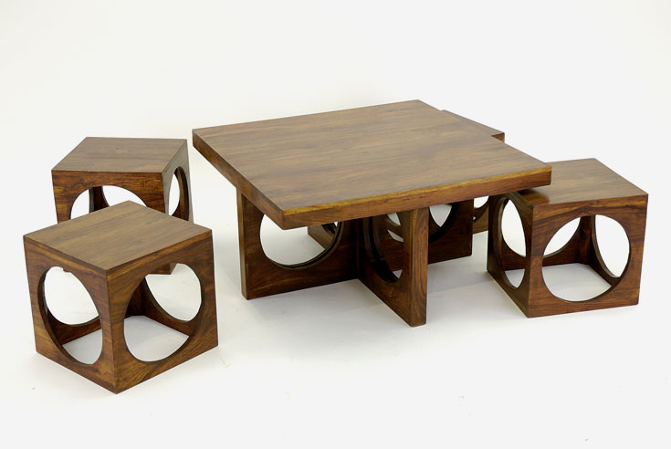 Indian Wooden Coffee Table With Storage Drawers Carved Solid Wood - Modern coffee table with stools