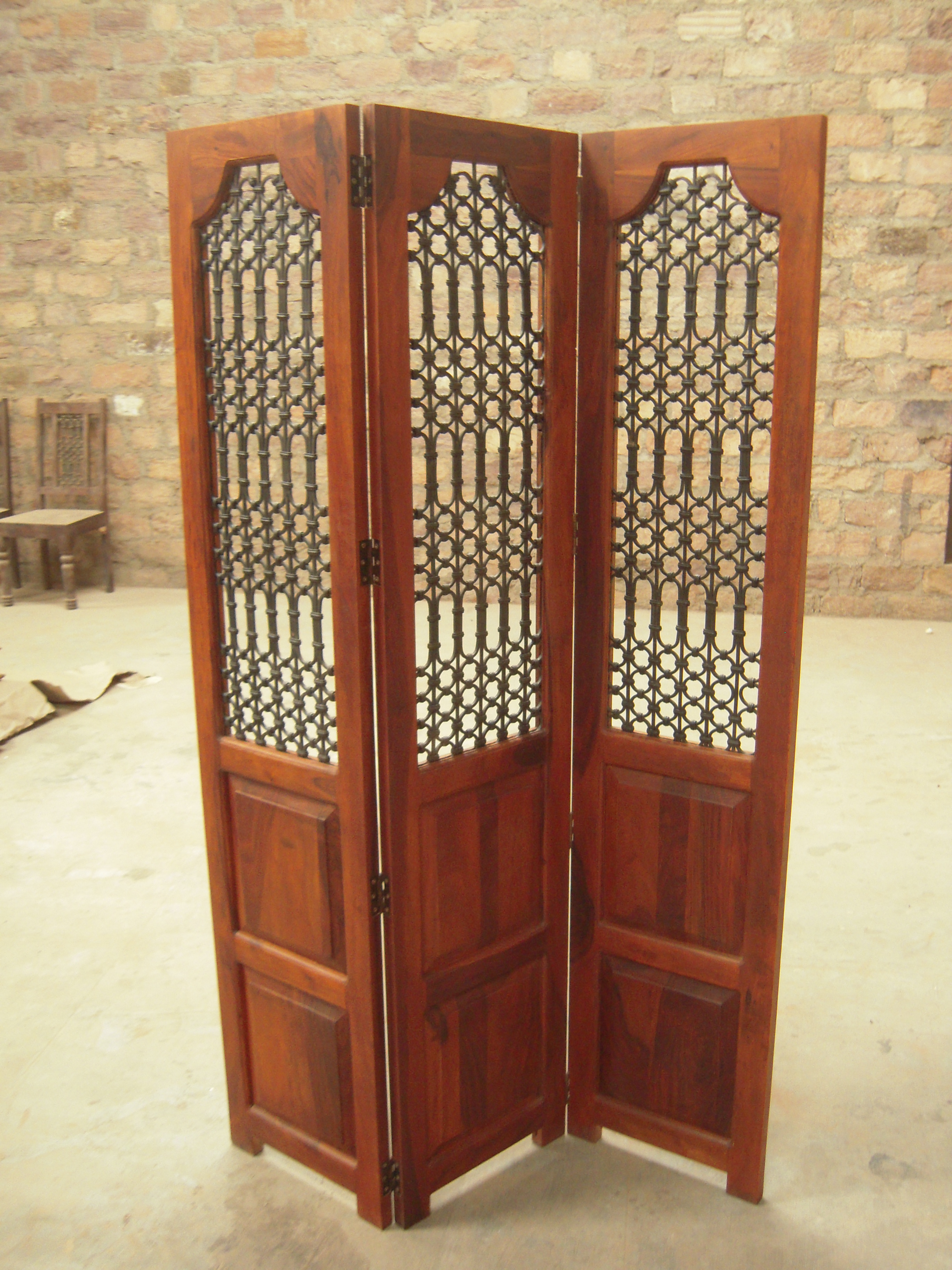 Traditional Indian Wooden Carved Screen Indian Wooden Panel Screen Solid Sheesham Wood